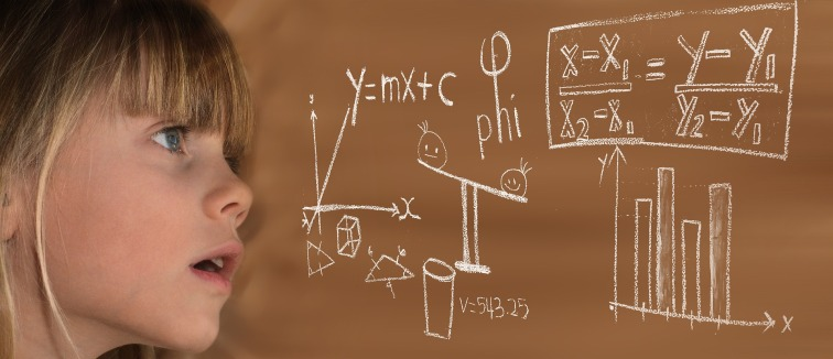 Young girl with equations